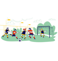 Kids playing soccer with ball on field in summer vector