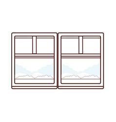 landscape trough window brown lines vector image