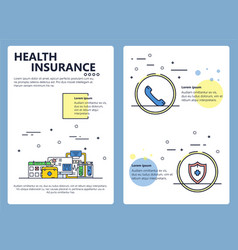 Line art health insurance poster template vector