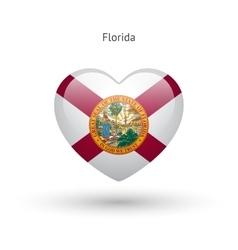 Love Florida state symbol Heart flag icon vector