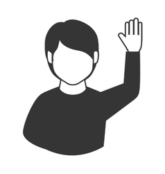 Man hand up asking question participation icon Vector Image