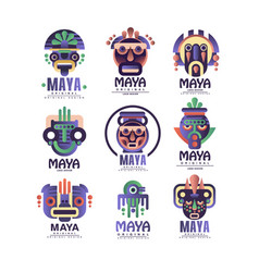 Maya logo original design set emblems with ethnic vector