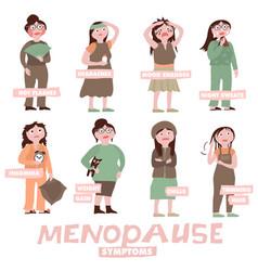 Menopause symptoms set vector