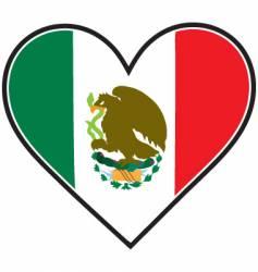 Mexico heart flag vector