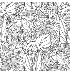 monochrome seamless pattern with floral motifs vector image