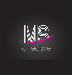 ms m s letter logo with lines design and purple vector image