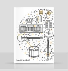 music festival poster line art vector image