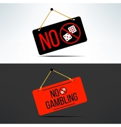 No gambling dangling board with dice vector