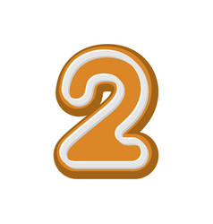 number 2 gingerbread font peppermint honey-cake vector image