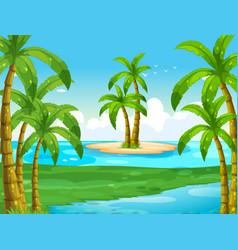 ocean scene with coconut trees on island vector image