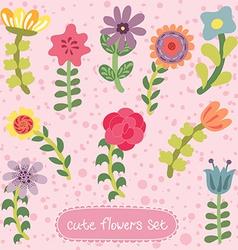 Original vintage hand drawn flowers set vector