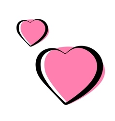Pair of pink heart outlined icons vector