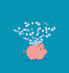 piggy bank expelling money into air vector image