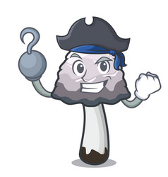 Pirate shaggy mane mushroom character cartoon vector