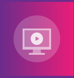 play video icon computer screen and play button vector image