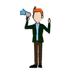 Politician man standing holding speaker vector