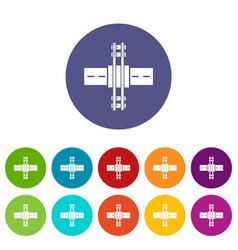 Railroad crossing icons set color vector