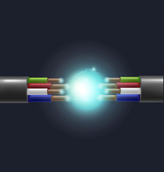 realistic detailed 3d electric cable break vector image