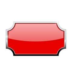 Red shiny plate with chrome frame vector
