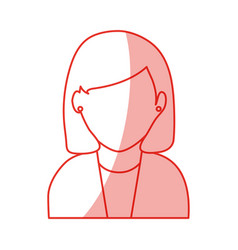 Red silhouette shading faceless half body woman vector