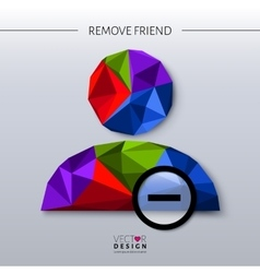 Remove friend - social icon in polygon style vector image