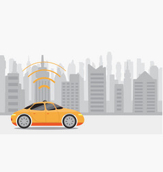 Robotic self-driving cars on city background vector