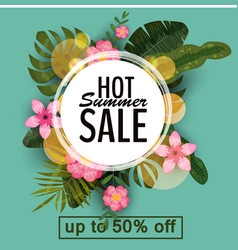 sale summer banner poster with palm leaves vector image