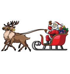 Santa ride sleigh with reindeer vector