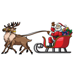 santa ride sleigh with reindeer vector image