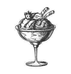 scoop ice cream cup with fruit hand drawn vector image