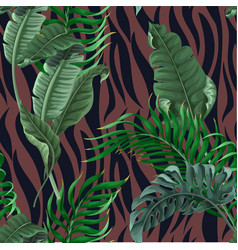 Seamless zebra skin pattern with tropical leaves vector