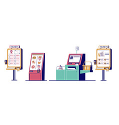 self ordering kiosk set flat isolated vector image