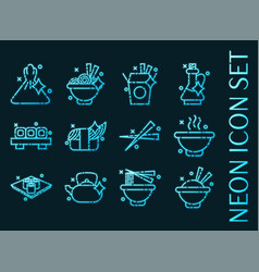 set chinese food glowing neon icons vector image