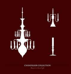 set classical lamps with candle template for vector image