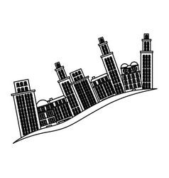 Silhouette buildings and cityscape side scene icon vector