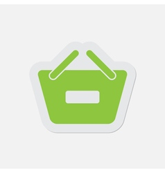 simple green icon - shopping basket minus vector image