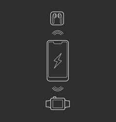 smartphone wireless charging icon vector image