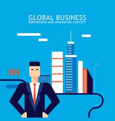 successful businessman on modern city downtown vector image