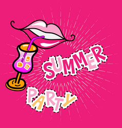 summer party poster with lips vector image