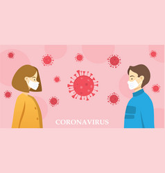 two people wearing masks social distancing vector image