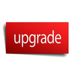Upgrade red paper sign on white background vector