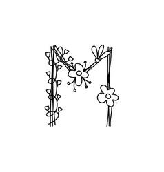 Vintage floral bold letter m logo spring classic vector