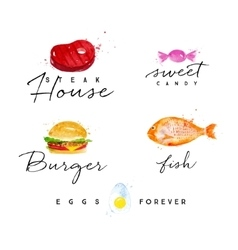 Watercolor label burger vector