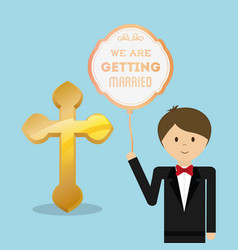 We are greeting married cute groom with balloon vector