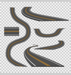 Winding curved road direction or highway with vector