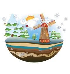 Winter Windmill Island vector