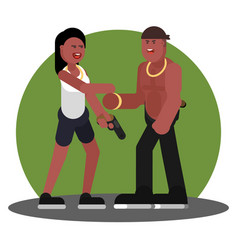 Woman and man greet each other vector