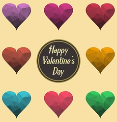 Happy Valentine Day Sign Abstract polygonal hearts vector image vector image