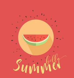 hello summer card with melon vector image