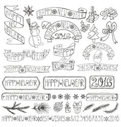 New year decoration labelsribbonslettering vector image